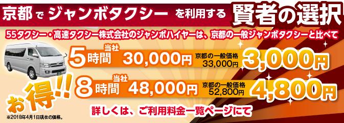 京都でジャンボを利用する賢者の選択。高速タクシーのジャンボハイヤーは、京都の一般ジャンボタクシーと比べて5時間以上のご利用で約7%!8時間なら約10%もお得!!※国土交通省より認可済み。